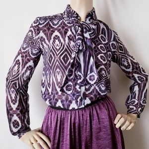 Olivia Moon Purple & White Blouse With Neck Ties